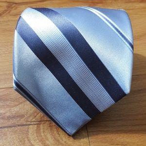 DKNY Mens Necktie 100% Silk Blue Striped Tie